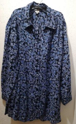 DW-Shop Bluse schwarz mit blauem Blumenmuster, Gr. 48/50
