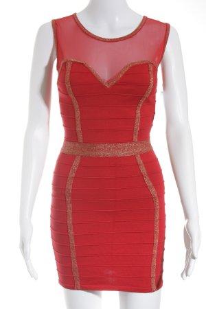 DXD Mini vestido rojo-color oro elegante