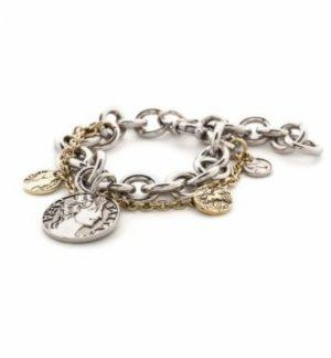 Dyrberg/Kern Armband gold und silberfarbend mit Münzen Charm Neu in OVP