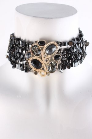 Dyrberg/Kern Collier silberfarben-schwarz extravaganter Stil