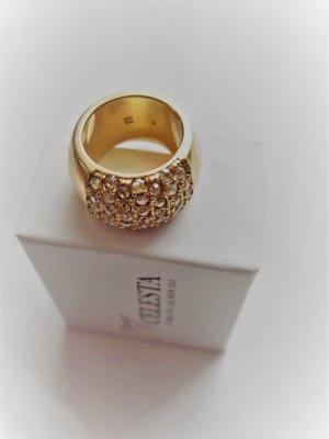 DYRBERG/KERN Designer Ring  goldfarben mit vielen Steinen
