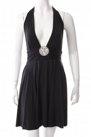 E.Loco Vestido de cuello Halter negro Elementos decorativos
