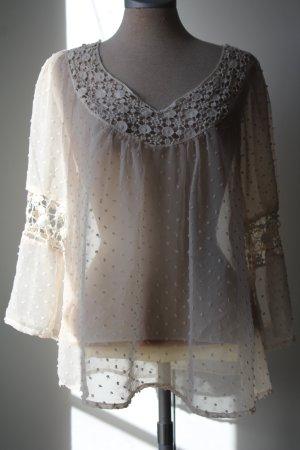 E-vie Bluse Folklore Blütenspitze creme weiß transparent Gr. 40/42 Vintage