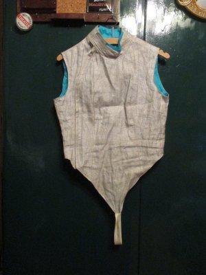 Chaleco deportivo color plata-azul neón tejido mezclado