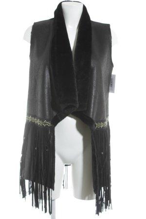 e-woman Smanicato in ecopelliccia nero-oro stile da moda di strada
