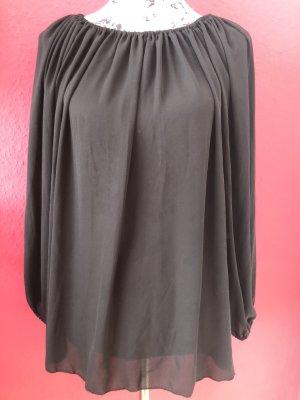 E7Paris schwarzes locker geschnittenes Blusenshirt