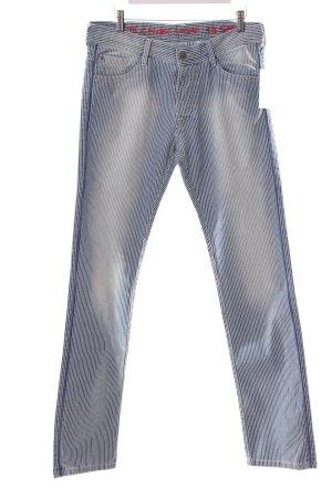EACH x OTHER Five-Pocket-Hose stahlblau-weiß Streifenmuster schlichter Stil