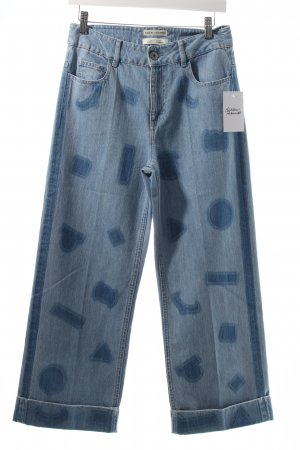 Each & Other Jeans himmelblau-stahlblau grafisches Muster Boyfriend-Look
