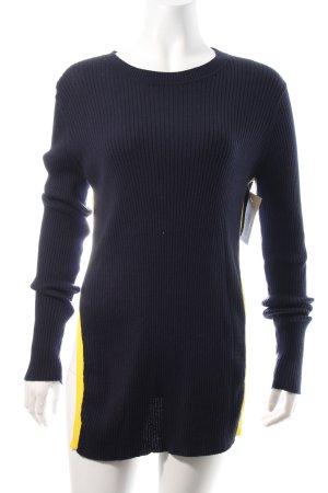 Each & Other Strickshirt dunkelblau-gelb sportlicher Stil