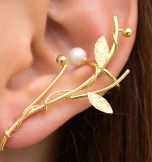 Earcuff Statment earring - unique artistic work; Statment Ohrring;  Silber vergoldet; rechte Ohr