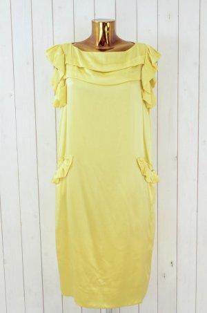 EASTON PEARSON Kleid Seidenkleid Cocktailkleid Gelb Seide Festlich Rüschen Gr.36