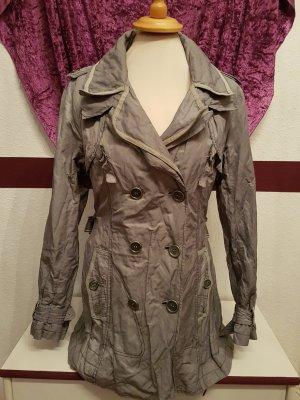 Easy Comfort grau silberne Damen Jacke Parka Trenchcoat Kurzmantel Gr. 42