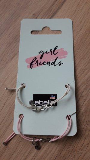 Ebelin dm 2er Pack Armbänder Gummi rosa weiß Ewigkeit Best Friends