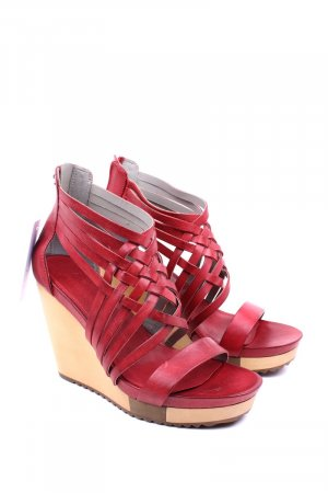 Ecco Wedge Sandals dark red-camel