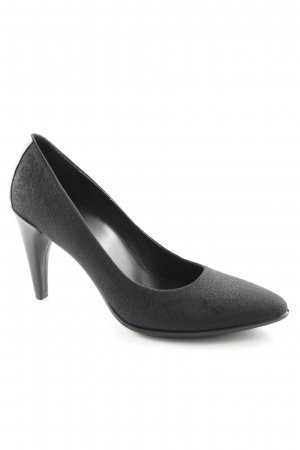 Ecco Spitz-Pumps schwarz Ornamentenmuster Business-Look
