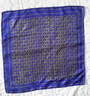 Silk Scarf blue-sand brown