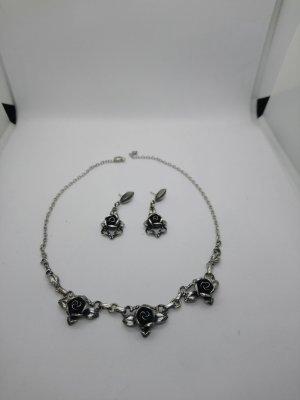 Echt 835 Silber Set Ohringe und Halskette