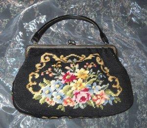 echt alte Vintage Gobelin Tasche Handtasche Bag schwarz bunt Blume h m Stickerei