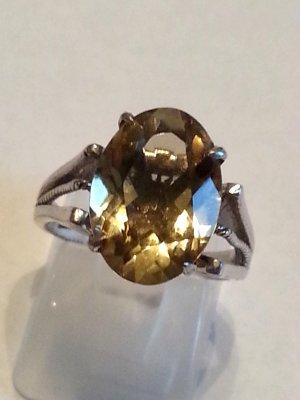 Echt antiker Jugendstil Silberring Citrin silber Edelstein Statement Ring