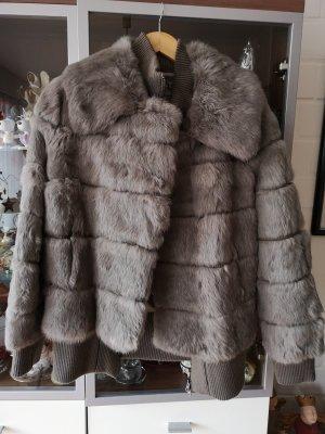 Giacca di pelliccia grigio-marrone-grigio