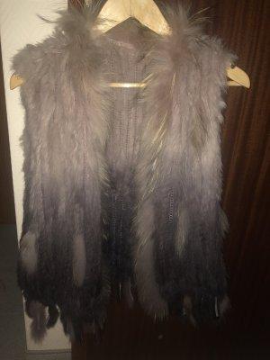 Smanicato di pelliccia marrone-viola-malva
