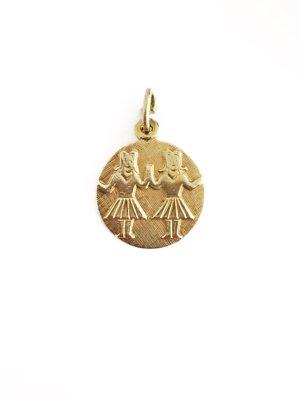 Echt Gold Anhänger 14 Karat 585 Gelbgold Gestempelt Zwillinge Sternzeichen Horoskop