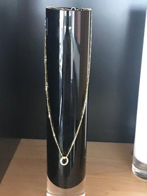 Echt Gold Kette mit Anhänger Ring mit Steinchen Neuwertig !! Goldkette Figaro