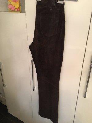 Apange Pantalon en cuir brun foncé