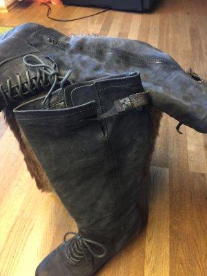 Echt Leder aus Italien graue Damen Stiefel