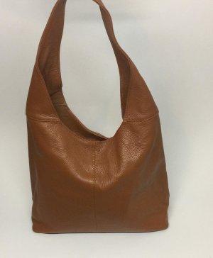 Echt Leder Beutel Hobobag Tasche Handtasche Braun Schultertasche
