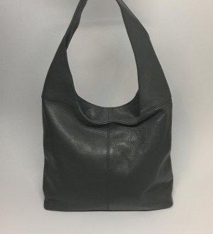 Echt Leder Beutel Hobobag Tasche Handtasche dunkel Grau Schultertasche