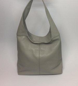 Echt Leder Beutel Hobobag Tasche Handtasche Grau Schultertasche