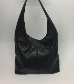 Echt Leder Beutel Hobobag Tasche Handtasche Schwarz Schultertasche