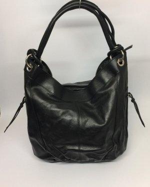 Echt Leder Beuteltasche Beutel Handtasche Schultertasche Schwarz