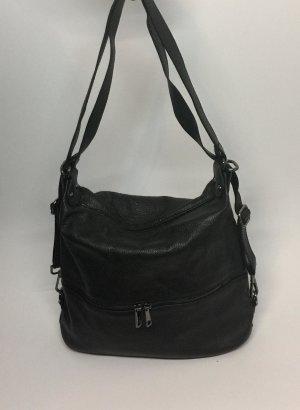 Echt Leder Beuteltasche Handtasche Crossbag Schwarz