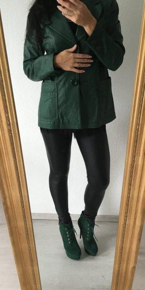 Echt Leder Blazer in Grün