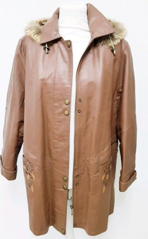 Heavy Pea Coat light brown leather