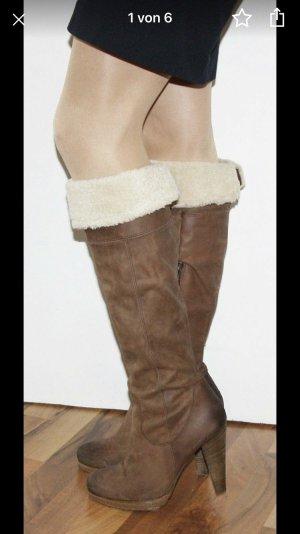 Echt Leder Damen Overknee Stiefel warm 40