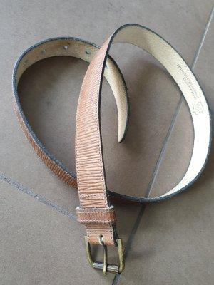 Echt Leder Gürtel, Natur-Rindleder, schmal, braun, Gr. 80