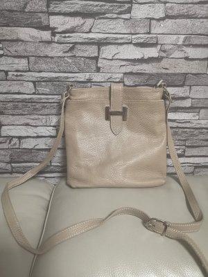 Echt Leder Handtasche Tasche Borse in Pelle Creme H Schnalle