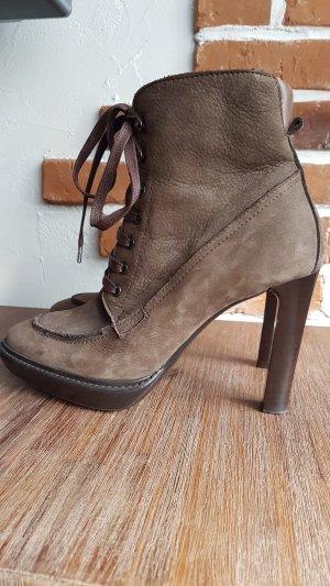 Manas Lea Foscati Bottines à lacets brun foncé-kaki cuir