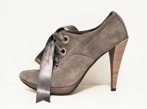 Lace-up Pumps grey-silver-colored leather