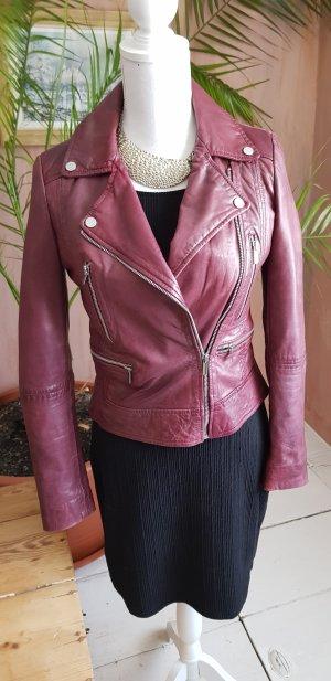 Mango Leather Jacket carmine-purple leather
