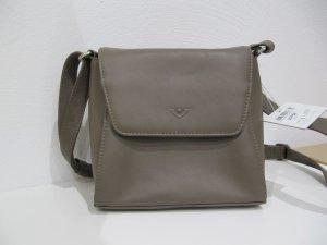 Echt Leder kleine Handtasche VOI taupe schlamm 18 cm