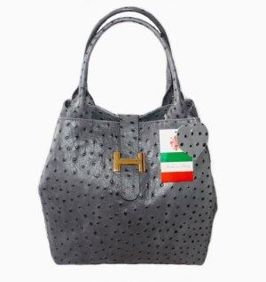 Echt Leder Luxus Tasche Henkeltasche Handtasche Grau Neu