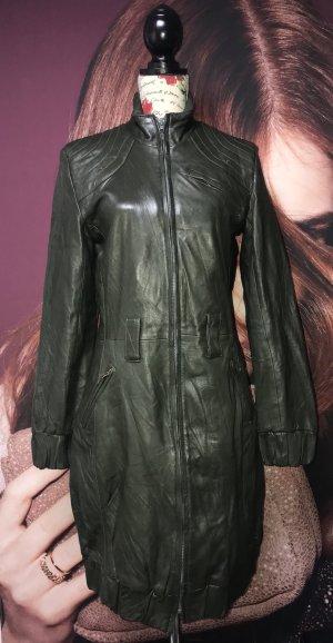 Desigual Abrigo de cuero verde oscuro