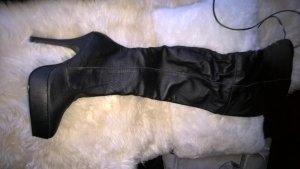 Echt Leder Overknees schwarz Gr.6
