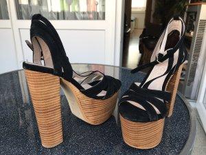 Plateauzool Sandalen met Hoge Hakken beige-zwart