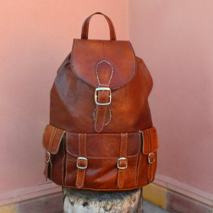 Trekking Backpack cognac-coloured leather