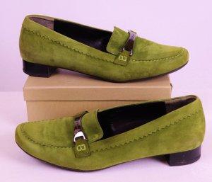 Echt Leder Slipper Trotteur Schuhe Paul green Größe 4,5 37 Grün Lindgrün Moosgrün Wildleder Flach Schlüpfschuhe Pumps Ballerina